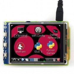 """3,2 """"TFT 320x240px GPIO odporový dotykový LCD displej pro Raspberry Pi 2 / B +"""