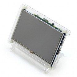 """Průhledné pouzdro pro Raspberry Pi 2 / B + a TFT 5 """"LCD obrazovku"""