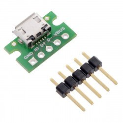 MicroUSB typ B 5 pin - konektor pro nepájivé pole - Pololu 2586