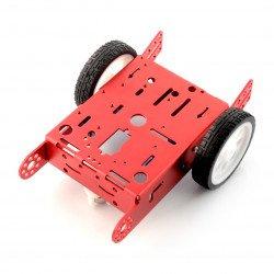 Červený podvozek 2WD 2kolový kovový robotický podvozek s motorovým pohonem