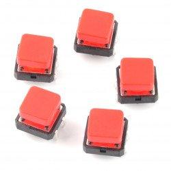 Taktický spínač 12x12 mm se čtvercovým víčkem - červený