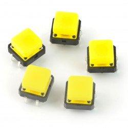 Taktický spínač 12x12 mm se čtvercovým víčkem - žlutý