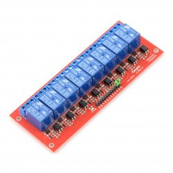 8kanálový reléový modul s optoizolací - kontakty 7A / 240VAC - 12V cívka