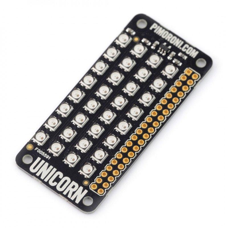 Unicorn pHAT - překryv s LED matricí pro Raspberry Pi