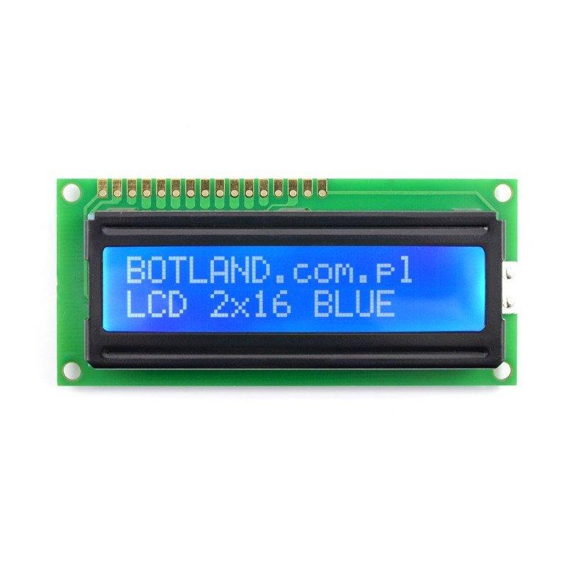 LCD displej 2x16 znaků modrý