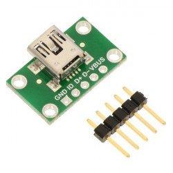 MiniUSB typ B 5 pin - konektor pro nepájivé pole - Pololu