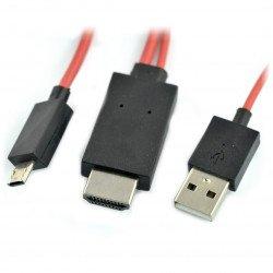 11kolíkový kabel MHL - microUSB, HDMI a USB