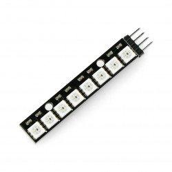 RGB LED pásek WS2812 5050 x 8 LED - 53 mm - pájené konektory