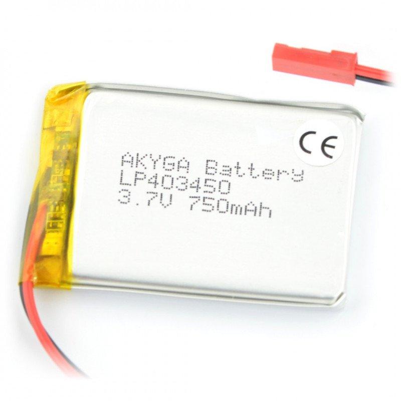 Baterie Akyga 750mAh 1S 3,7 V Li-Pol - konektor JST-BEC + zásuvka