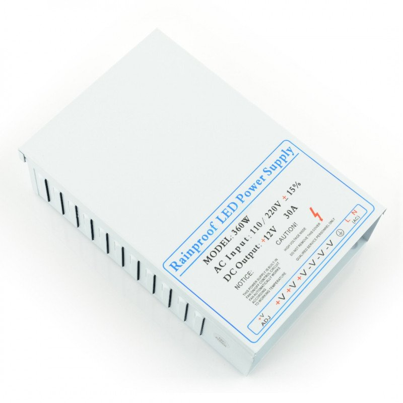 Průmyslový impulsní napájecí zdroj pro LED pásky a pásky 12V / 30A / 360W