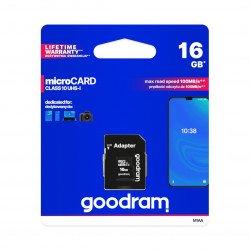 Paměťová karta Goodram micro SD / SDHC 16 GB UHS-I třídy 10 s adaptérem