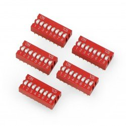 8pólový DIP přepínač - červený