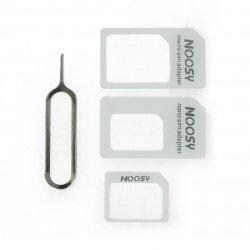 Adaptér pro karty micro a nano SIM s klíčem - bílý