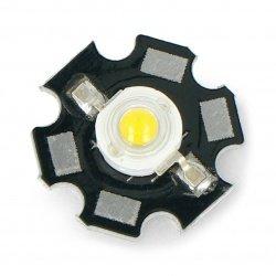 Výkonová LED hvězda 1 W - teplá bílá s chladičem