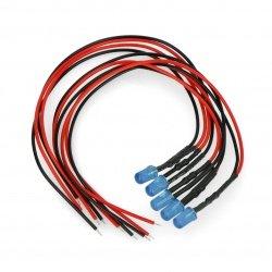 5mm 12V LED s odporem a vodičem - modrý - 5ks