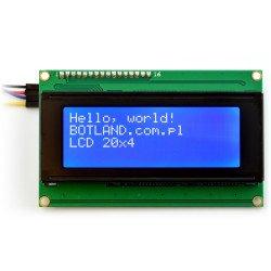 LCD displej 4x20 znaků modrý + převodník I2C LCM1602
