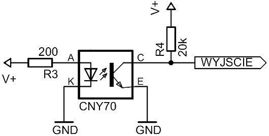 Příklad připojení CNY70