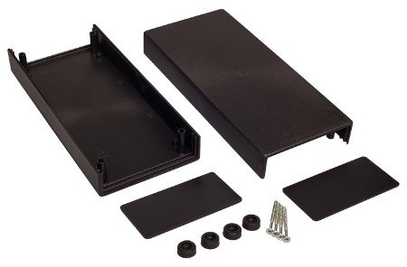 Černé pouzdro pro uložení elektronických obvodů.