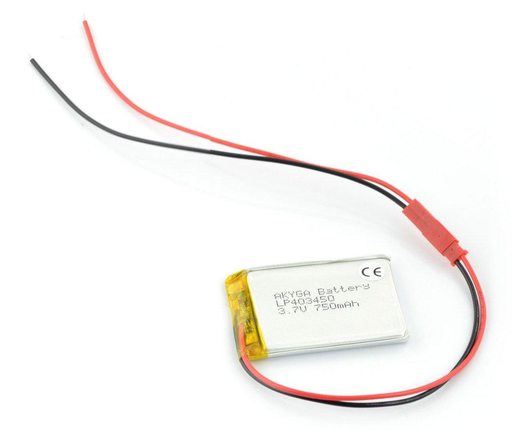 Li-Pol Akyga 3,7 V 1 S 750 mAh konektor baterie + 2,54 JST zásuvka - 2 piny - 50x34x4,4mm